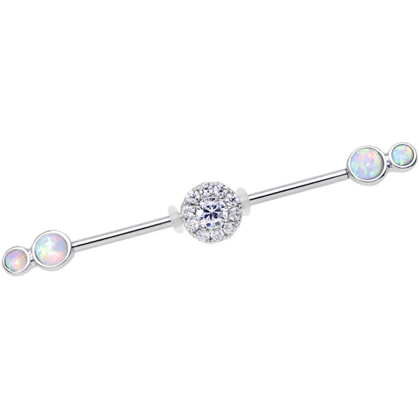 White Synthetic Opal Clear Gem Stainless Steel Industrial Barbell 38mm