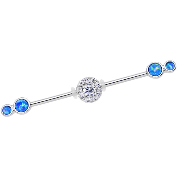 Blue Synthetic Opal Clear Gem Stainless Steel Industrial Barbell 38mm