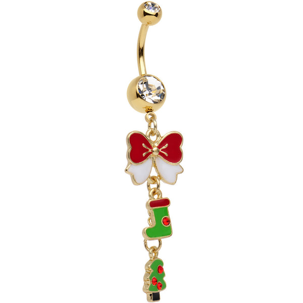 Gold Plated Surgical Steel Clear Spirit of Christmas Dangle Belly Ring