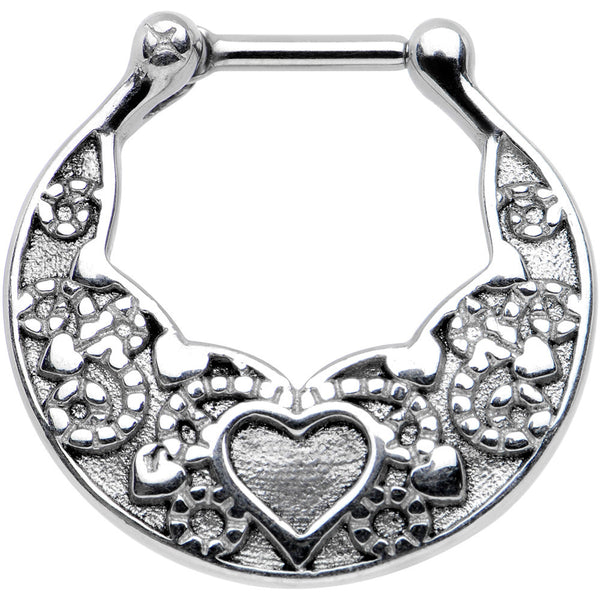 "16 Gauge 1/4"" Steel Bar Wide Ornate Heart Detailed Hoop Septum Clicker"