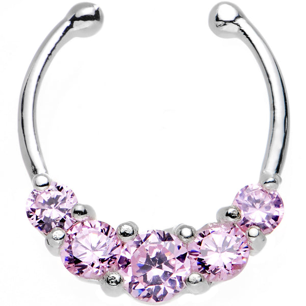 Rose Gem Quintuple the Sparkle Clip On Septum Ring