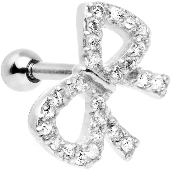 "16 Gauge 1/4"" Clear Gem 925 Silver Flashy Bow Tragus Cartilage Earring"