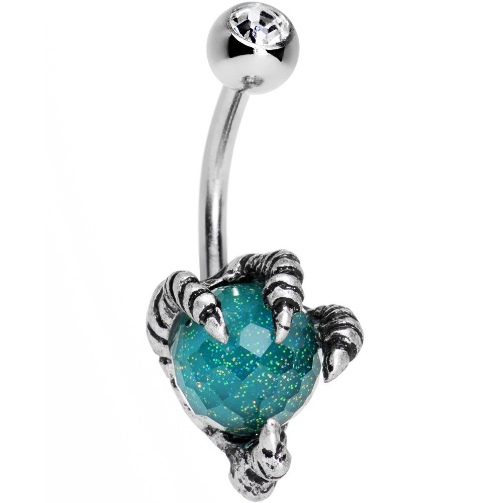 Clear Gem Aqua Globe Stainless Steel Take Me Talons Belly Ring
