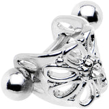 "16 Gauge 3/8"" Clear Gem Steel Barbell Flower Cartilage Cuff"