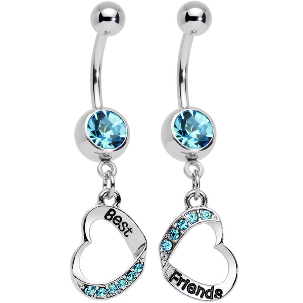Baby Blue Gem Best and Friends Matching Heart Dangle Belly Ring Set