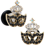 2 Gauge Aurora Black Gem Masquerade Mask Crown Single Flare Plug Set