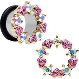 "9/16"" Aurora and Pink Gem Heart Wreath Single Flare Tunnel Plug Set"