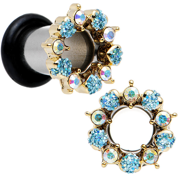 2 Gauge Aurora and Aqua Gem Heart Wreath Single Flare Tunnel Plug Set