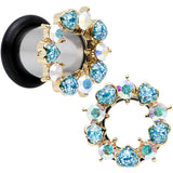 0 Gauge Aurora and Aqua Gem Heart Wreath Single Flare Tunnel Plug Set