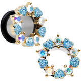 "1/2"" Aurora and Aqua Gem Heart Wreath Single Flare Tunnel Plug Set"