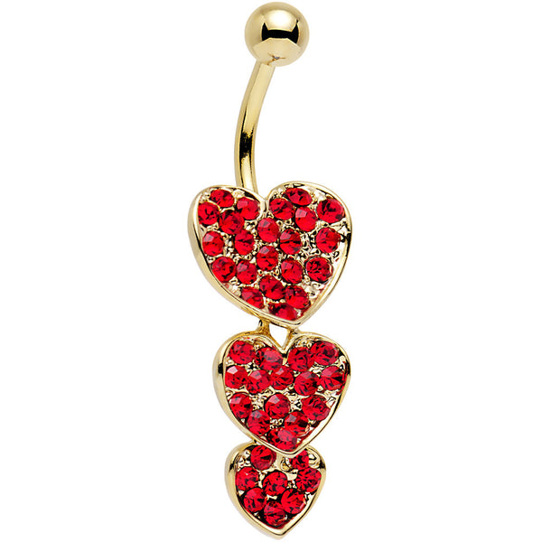 Red Gem Gold Plated Steel Triple Heart Dangle Belly Ring
