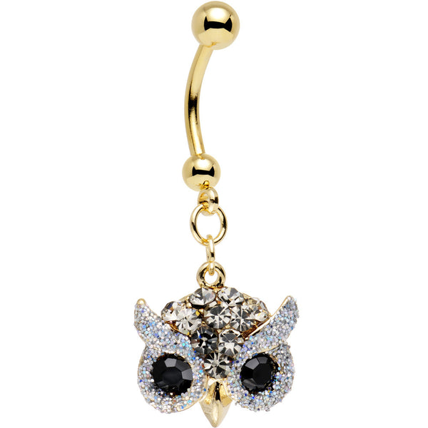 Clear Aurora and Black Gem Gold Plated Beady Eye Owl Dangle Belly Ring