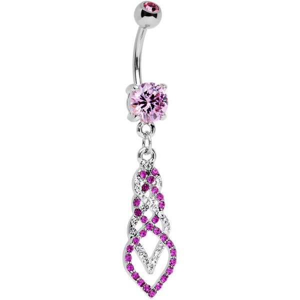 Clear and Pink Gem Twisting Dreamy Beauty Dangle Belly Ring