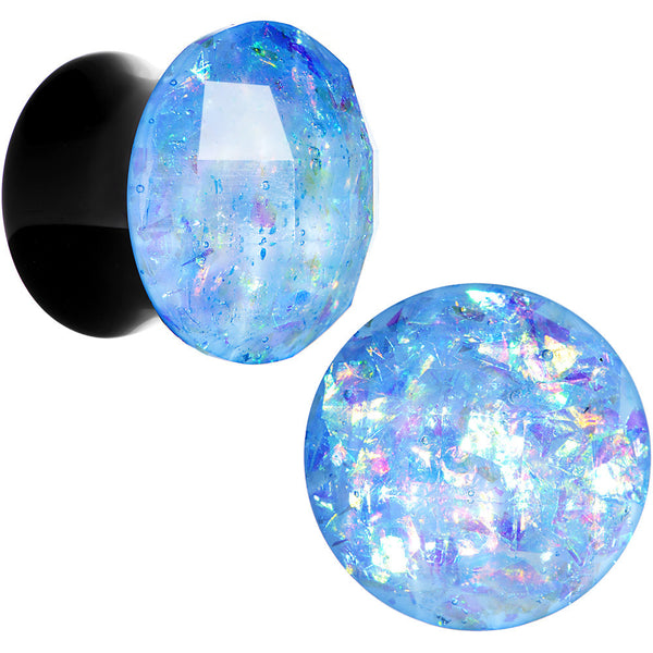 "1/2"" Black Acrylic Aqua Galaxy Faceted Saddle Plug Set"