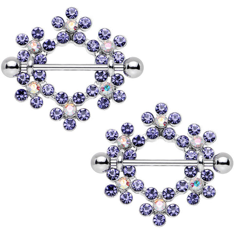 14 Gauge Amethyst Aurora Gem Steel Barbell Snowflake Nipple Shield Set 1""