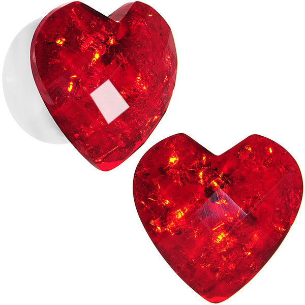 White Acrylic Red Faceted Valentine Heart Saddle Plug Set 2 Gauge to 26mm