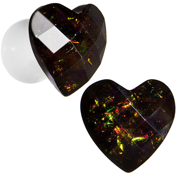 2 Gauge White Acrylic Black Valentine Love Heart Saddle Plug Set