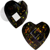 0 Gauge White Acrylic Black Valentine Love Heart Saddle Plug Set
