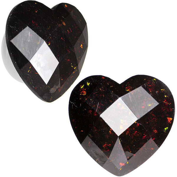 White Acrylic Black Faceted Valentine Love Heart Saddle Plug Set 12mm to 26mm