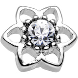 16 Gauge 7mm Clear Gem Petaled Flower Cartilage Earring