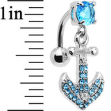 Aqua Gem Paved Set My Sails Anchor Top Mount Dangle Belly Ring