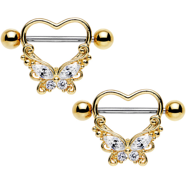 "14 Gauge 11/16"" Clear CZ Steel Hold My Heart Butterfly Nipple Shield Set"