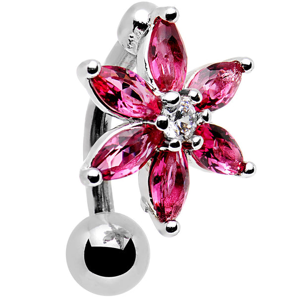 Clear Dark Pink Gem Flip Flower Reversible Top Mount Belly Ring