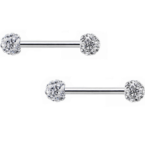 "14 Gauge 9/16"" Clear Ferido Gem White Ball Ends Barbell Nipple Ring Set"