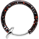 "3/8"" Black with Red and White Splatter Spring Loaded Clip On Hoop"