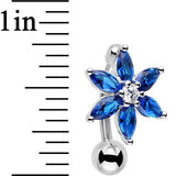 Blue Gem Lily Flower Top Mount Dangle Belly Ring