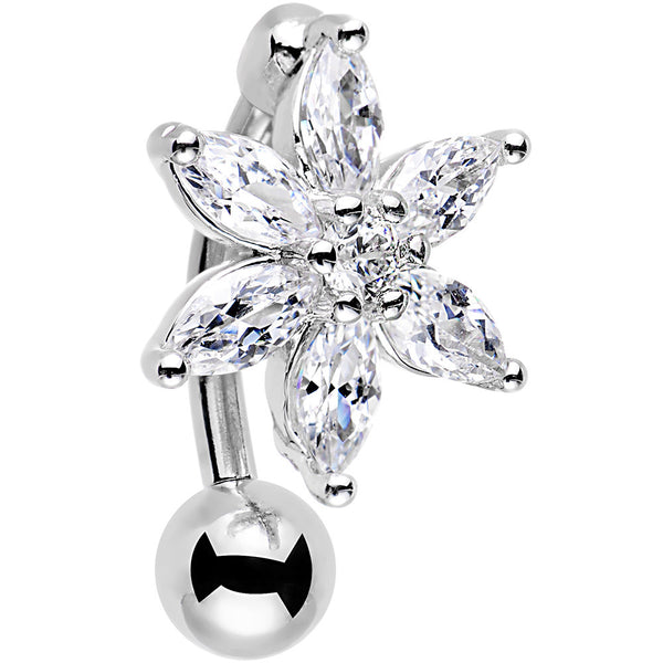 Clear Gem  Lily Flower Top Mount Dangle Belly Ring