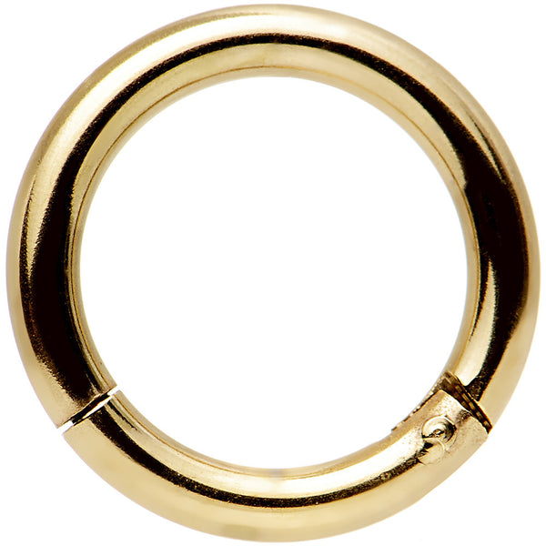 "14 Gauge 5/16"" Gold Anodized Hinged Segment Ring Circular Barbell"