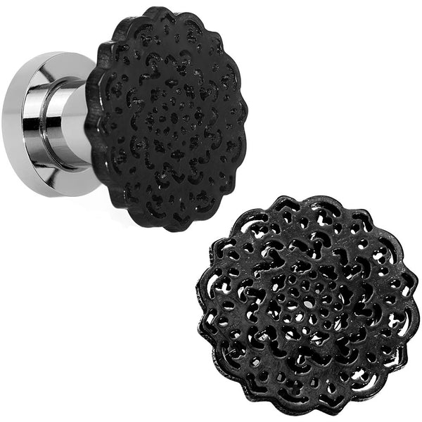 2 Gauge Stainless Steel Black IP Lotus Flower Screw Fit Double Flare Plug Set
