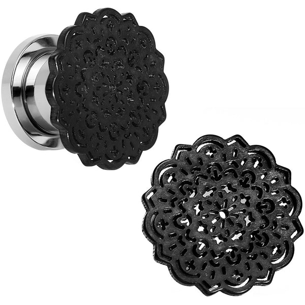 00 Gauge Steel Black IP Lotus Screw Fit Double Flare Plug Set
