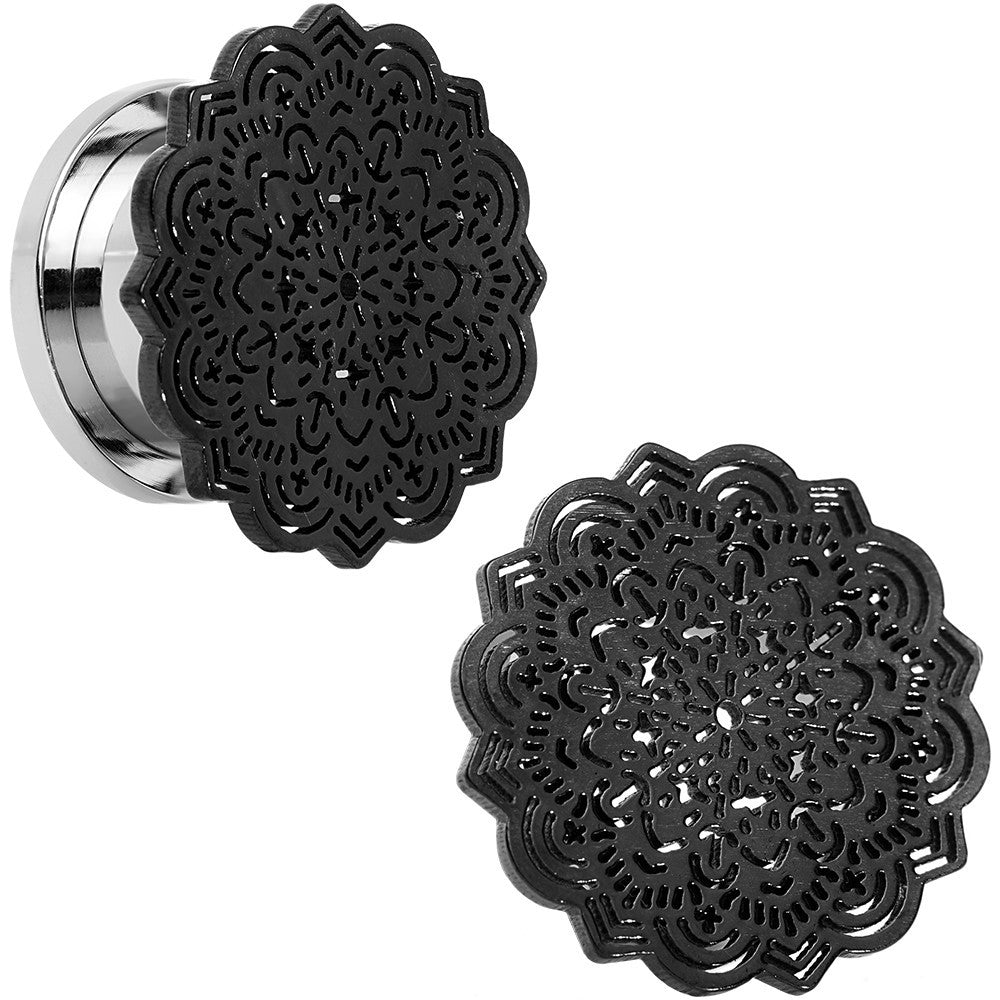 916 Stainless Steel Black Ip Lotus Screw Fit Double Flare Plug Set