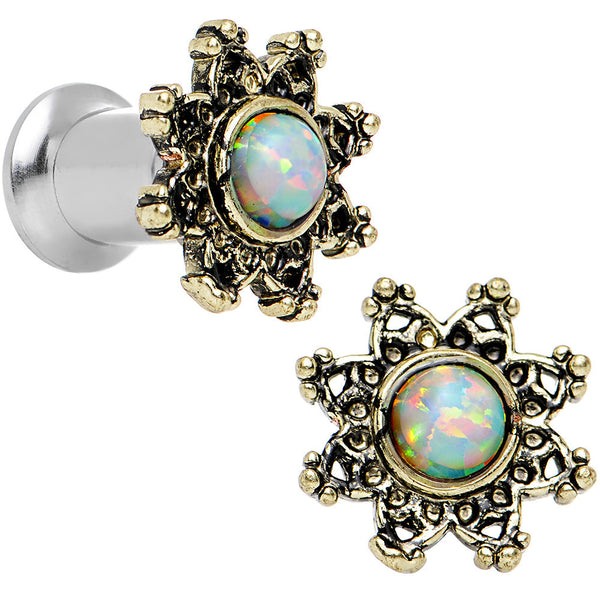 4 Gauge Steel White Synthetic Opal Flower Screw Fit Saddle Plug Set