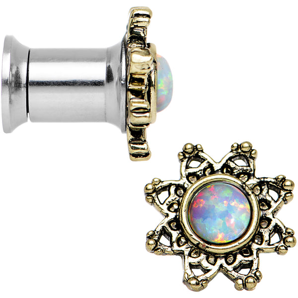 2 Gauge Steel White Synthetic Opal Flower Screw Fit Saddle Plug Set