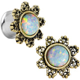 00 Gauge Steel White Synthetic Opal Flower Screw Fit Saddle Plug Set