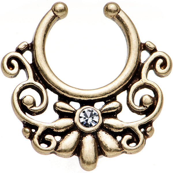 Clear Gem Brass IP Ornate Floral Clip On Septum Ring