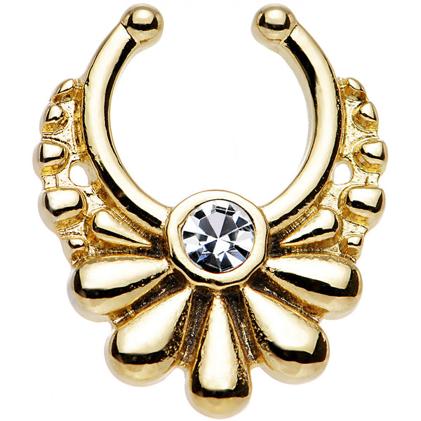 Clear Gem Gold IP Art Deco Ornate Clip On Septum Ring