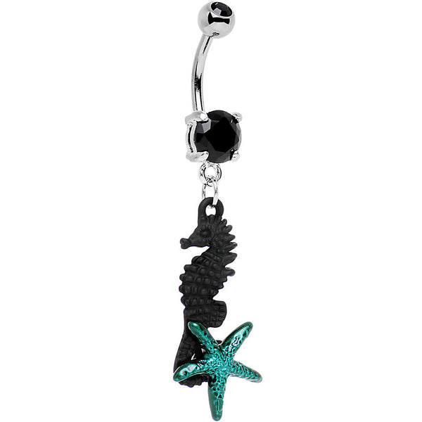 Black Gem Black Seahorse and Blue Starfish Dangle Belly Ring