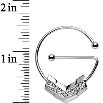 Clear Gem Stainless Steel Barbell Chevron Universal Nipple Ring Set