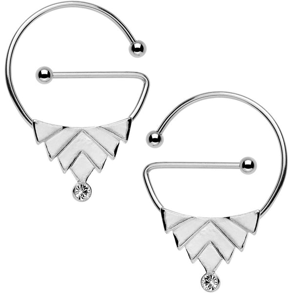 Clear Gem Stainless Steel Barbell Art Deco Universal Nipple Ring Set