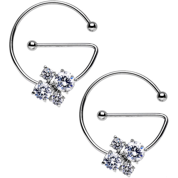 Clear Cluster Universal Nipple Ring Set Created with Swarovski Crystals