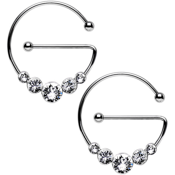 Clear Steel Universal Nipple Ring Set Created with Swarovski Crystals