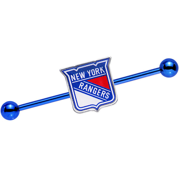 Licensed Blue Anodized NHL New York Rangers Industrial Barbell 38mm