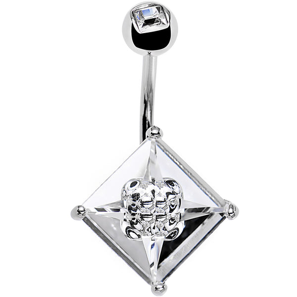 Clear 12mm Princess Crystal Belly Ring Created with Swarovski Crystals