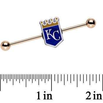 Licensed MLB Gold Anodized Kansas City Royals Industrial Barbell 38mm