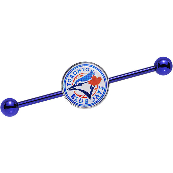Licensed MLB Blue Anodized Toronto Blue Jays Industrial Barbell 38mm