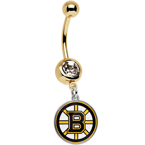 Licensed NHL Clear Gem Gold Anodized Boston Bruins Dangle Belly Ring